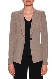 Armani Bi-Color Ottoman-Ribbed Jersey Blazer Jacket