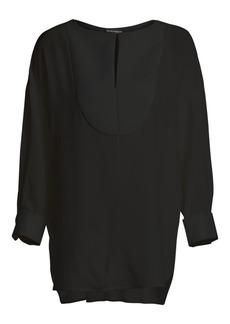 Armani Bib-Front Silk Tunic Blouse