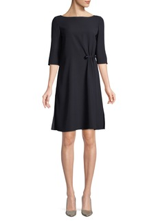 Armani Boat-Neck Elbow-Sleeve Cady Shift Dress w/ Side Ruching