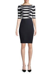 Armani Boat-Neck Elbow-Sleeve Striped Top Fitted Knit Dress