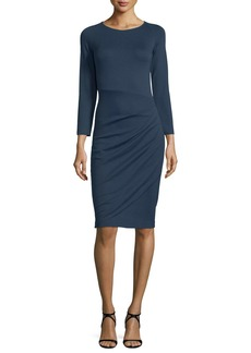 Armani Bracelet-Sleeve Ruched-Skirt Dress  Indigo Blue