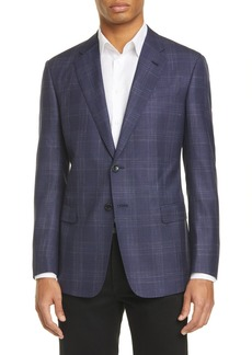 Armani Broken Plaid Print Wool Blend Jacket