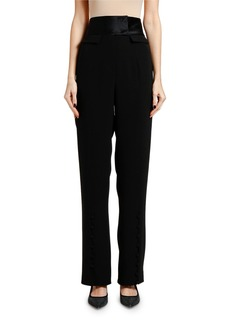 Armani Cady Satin-Waist Evening Pants