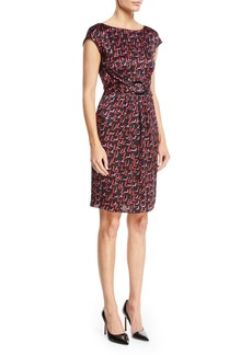 Armani Cap-Sleeve Belted-Front Check-Print Silk Dress