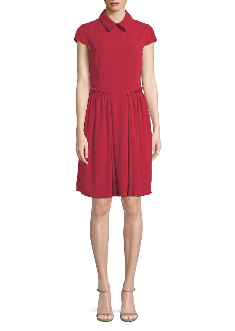 Armani Cap-Sleeve Collared A-Line Dress w/ Ruffled Trim