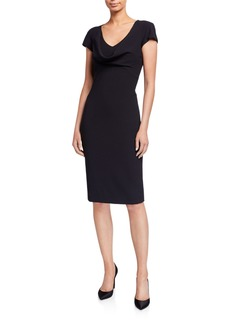 Armani Cap-Sleeve Drape-Front Cady Cocktail Dress