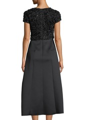 Armani Cap-Sleeve Fit-and-Flare Cocktail Dress w/ Embellished Top & Neoprene Skirt