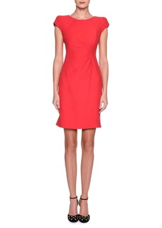 Armani Cap-Sleeve Ruched Jersey Dress  Pink