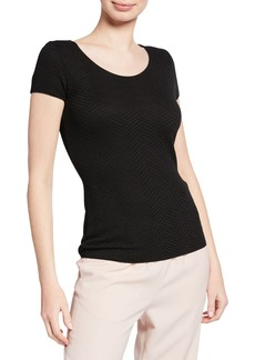 Armani Cap-Sleeve Textured Shell