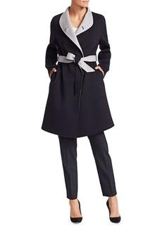 Armani Cashmere & Wool Contrast Wrap Coat