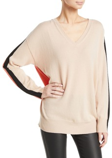 Armani Cashmere Colorblocked V-Neck Sweater