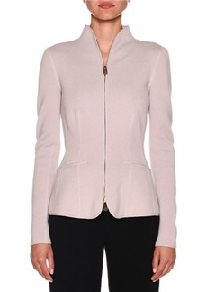 Armani Cashmere Fitted Funnel-Neck Zip Front Jacket
