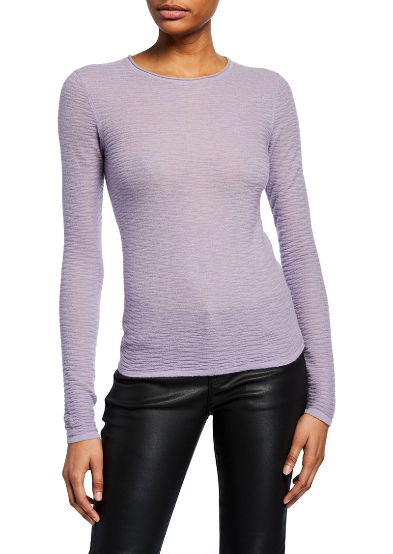 Armani Cashmere Textured-Knit Crewneck Sweater