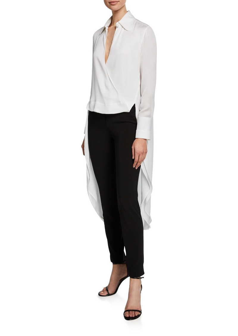 Armani Charmeuse Side-Tie Tail-Back Blouse