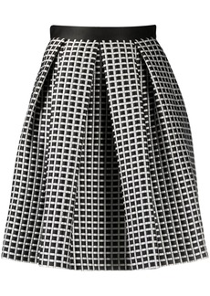 Armani check patterned pleat detail skirt