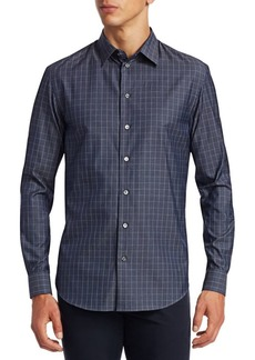 Armani Check Twill Button-Down Shirt