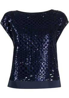 Armani checked sequin T-shirt