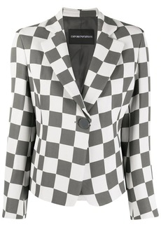 Armani checkered print notched lapel blazer