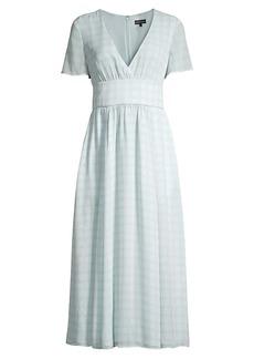 Armani Checkered V-Neck Midi Dress