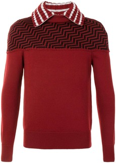 Armani chevron-knit contrast-collar jumper