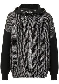 Armani chevron-knit zipped hoodie