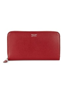 Armani Coated Leather Zip-Around Long Wallet