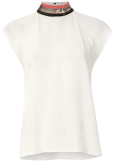 Armani collar embroidered blouse