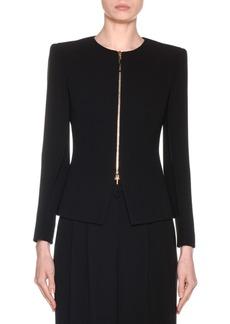 Armani Collarless Silk Zip-Front Jacket