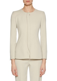 Armani Collarless Snap-Closure Cady Jacket