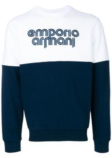 Armani color blocked logo sweatshirt