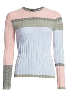 Armani Colorblocked Chevron Jacquard Sweater