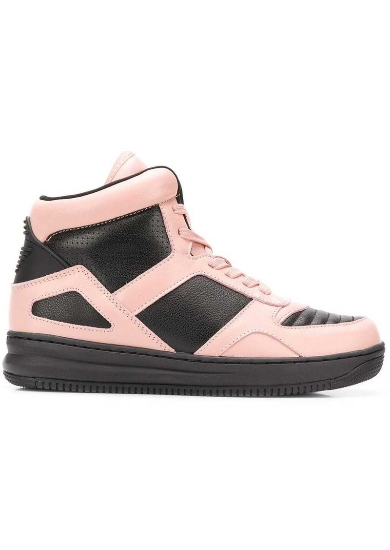 Armani colour block hi-top sneakers