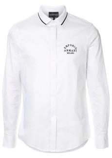 Armani contrast collar logo shirt