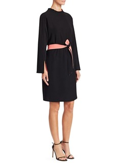 Armani Contrast High Neck Belted Dress