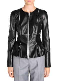 Armani Contrast Seam Leather Jacket