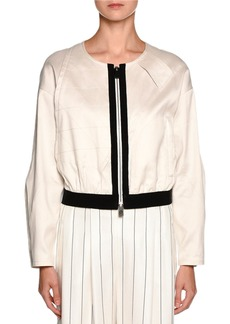 Armani Contrast-Trim Zip Bomber Jacket  Off White