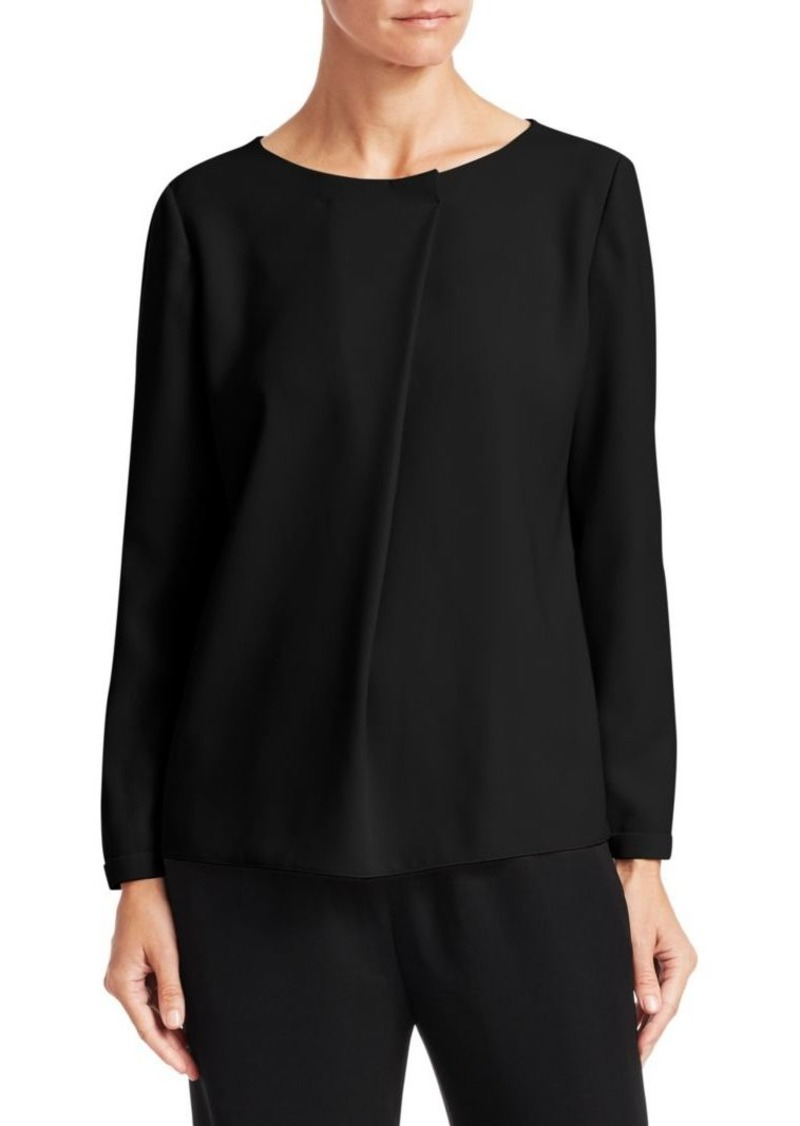 Armani Crepe Foldover Single Pleat Top