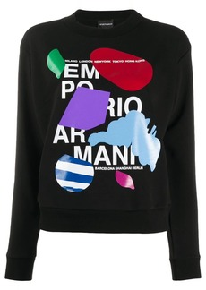 Armani crew neck abstract print sweater
