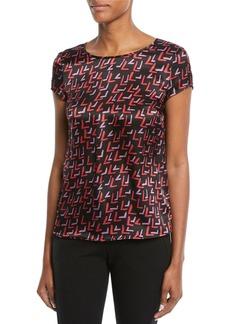 Armani Crewneck Cap-Sleeve Check-Print Silk Blouse
