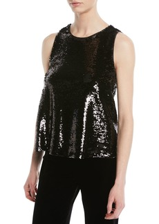 Armani Crewneck Sleeveless Sequin Top