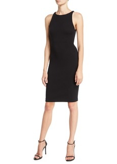 Armani Crewneck Sleeveless Textured-Jersey Sheath Dress