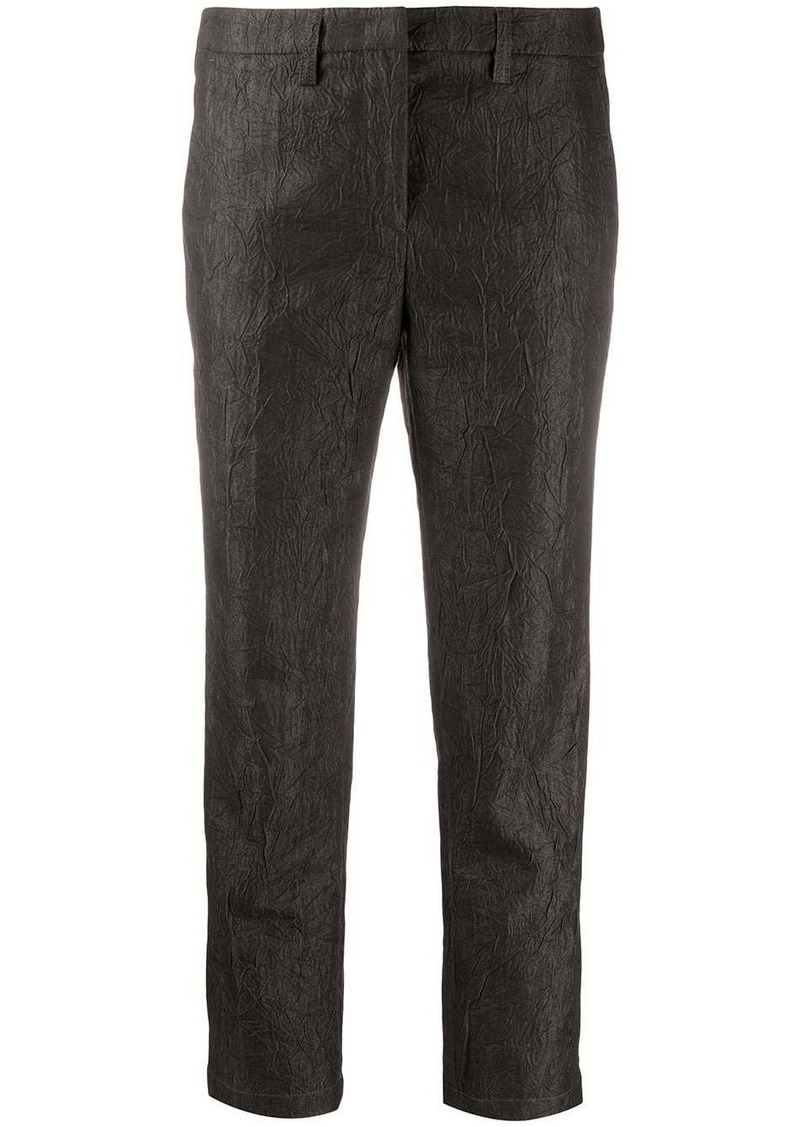 Armani crinkled slim-fit trousers