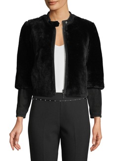 Armani Cropped Shearling Fur Zip-Front Jacket w/ Suede Sleeve Detail