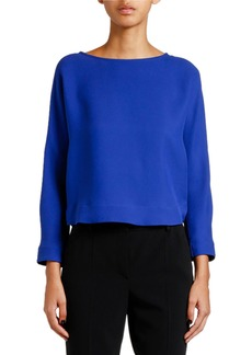 Armani Cross-Back Long-Sleeve Georgette Blouse
