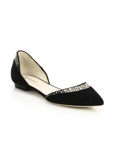 Armani Crystal-Trimmed Suede Flats