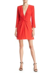 Armani Deep-V Gathered 3/4-Sleeve Silk Crepe Short Cocktail Dress
