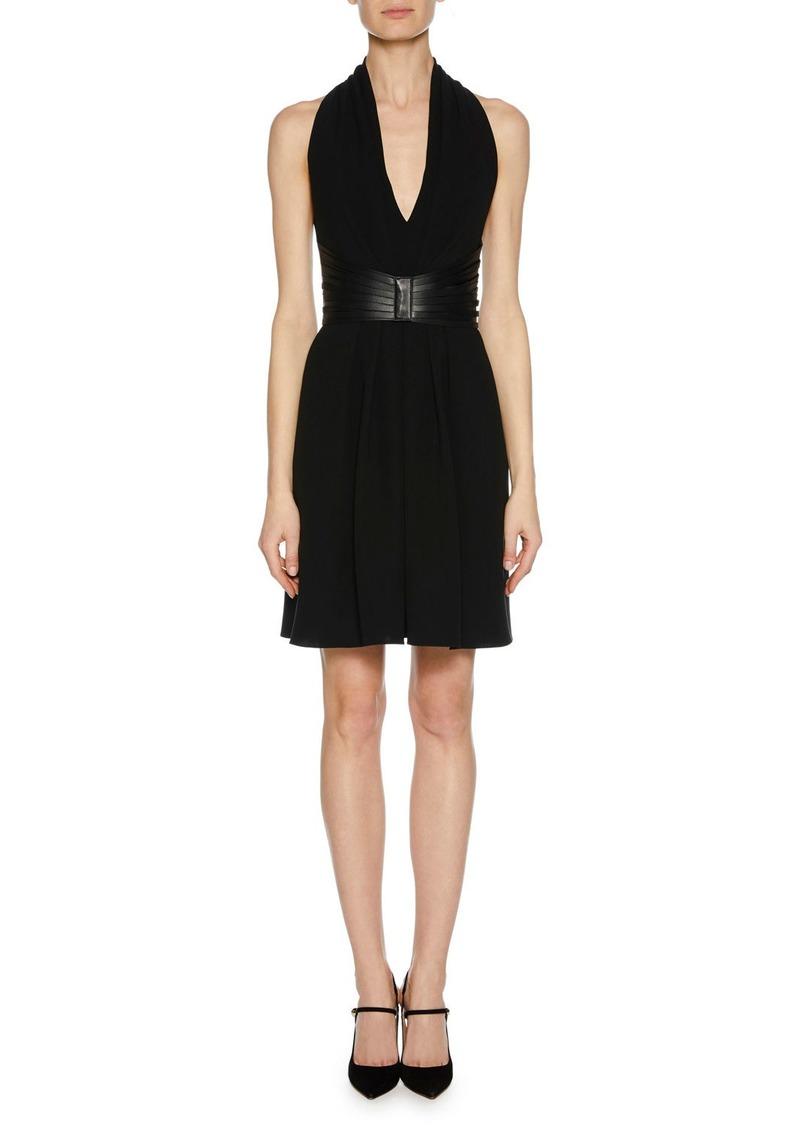Armani Deep-V Halter Sleeveless Silk Dress w/ Leather Harness