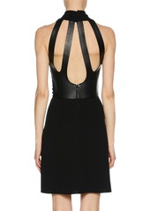 Armani Deep-V Halter Sleeveless Silk Dress w/ Leather Harness