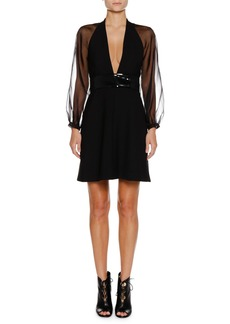 Armani Deep-V Sheer-Sleeve Belted Crepe Mini Cocktail Dress