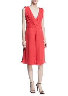 Armani Deep-V Sleeveless A-Line Knee-Length Dress